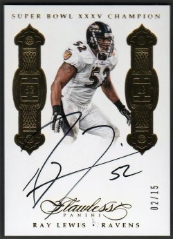 2016   Ray Lewis Flawless Super Bowl Champions Gold Parallel Auto #2/15