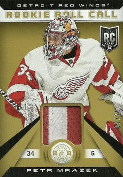 2013/14 Panini Totally Certified  Rookie Roll Call Gold Patch Petr Mrazek