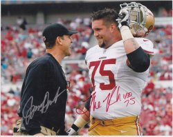 Jim Harbaugh / Alex Boone The Rhino Signed IP 8x10 Photo