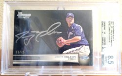2013 Jimmy Nelson Bowman Black Collection On-Card Auto RC (BGS 8.5 / 10) 11/25  Brewers A6063