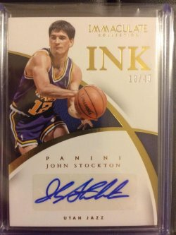 2014 Panini Immaculate Collection John Stockton Immaculate Ink