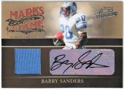 2006   Barry Sanders Absolute Memorabilia Marks of Fame JSY Auto /50
