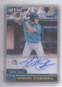 2012 Topps Tier One Miguel Cabrera Clear Rookie Reprint Autograph