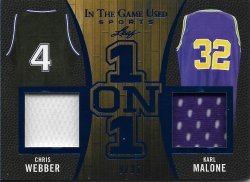 2020 Leaf In The Game Used Sports One on One Relics Chris Webber / Karl Malone #ed 9/35