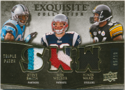 2009 Upper Deck Exquisite Collection Patch Trios Gold Steve Smith/Wes Welker/Hines Ward
