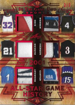 2019 Leaf Leaf In The Game Used Sports All-Star Game History 6 Relics Prime Red Kidd / Webber / Duncan / Iverson / McGrady / Carter #ed 2/3