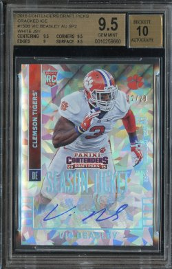 2015 Playoff Contenders Draft Picks Cracked Ice Rookie Ticket Auto Vic Beasley