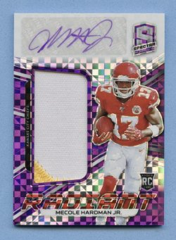 2019 Panini Spectra Radiant Rookie Patch Signatures Neon Purple #11 Mecole Hardman Jr./35