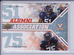 Eugene Monroe and Clint Sintim 2009 UD Draft Edition Alumni Association Platinum RC /10