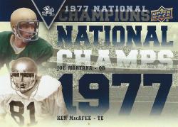 2013 Upper Deck Notre Dame National Champions Duos Joe Montana/MacAfee
