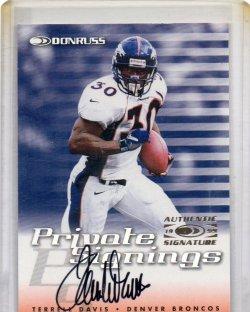 1999 Donruss  Terrell Davis Private Signings Auto