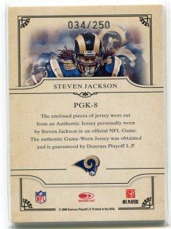 2008 Donruss Threads Steven Jackson Gridiron Kings Back