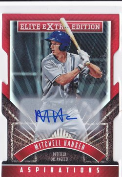 2015 Mitchell Hansen Elite Extra Edition Aspirations Die-Cut On-Card Auto RC /100  Dodgers A8634