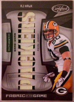 2009 Panini Leaf Certified Fabric of the Game Team Die-Cut AJ Hawk