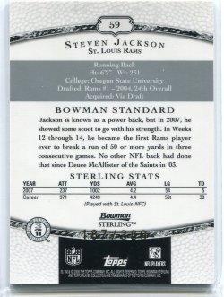 2008 Bowman Sterling Steven Jackson Jersey Back