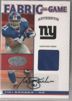 2007 Leaf Certified Materials Tiki Barber Fabric of the Game Autograph