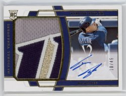 2020 Tyrone Taylor National Treasures 3 Color Jumbo Patch On-Card Auto RC 10/49  Brewers #193 21C605