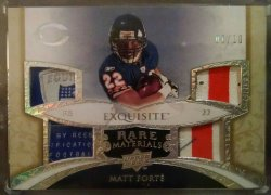 2008 Upper Deck Exquisite Matt Forte rare materials laundry tag