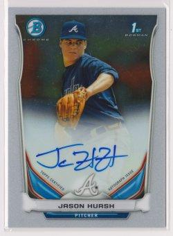 2014 Jason Hursh Bowman Chrome  On-Card Auto RC   Braves B1776