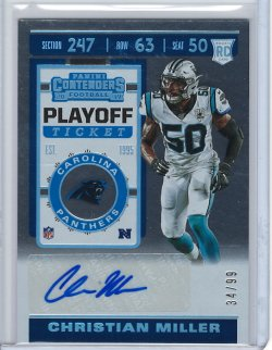 2019 Panini Contenders Playoff Ticket Christian Miller