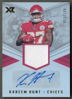 2017 Panini XR Rookie Swatch Autographs Kareem Hunt