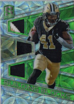 2018 Panini Spectra Building Blocks Materials Neon Green Alvin Kamara