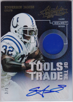 2013 Panini Absolute Tools Of The Trade Helmets Signatures Prime Edgerrin James