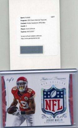 2015 Panini National Treasures 1/1 David Johnson Rookie Auto & Jeremy Maclin NFL Shield Patch