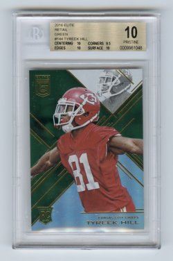 2016 Elite Retail Green #144 Tyreek Hill BGS 10 (POP 1)