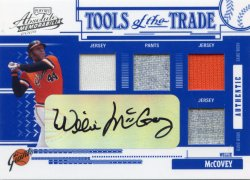 2005 Playoff Absolute Memorabilia Willie McCovey Tools of the Trade Auto Quad Relic Reverse