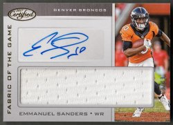 2017  Certified Fabric Of The Game Signatures Emmanuel Sanders