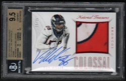 2015   Von Miller National Treasures RUBY Colossal 3-Color Patch Auto /25 BGS 9.5/10