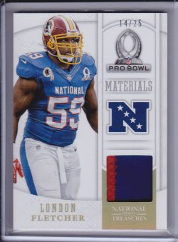 London Fletcher 2013 Panini National Treasures Pro Bowl Materials Prime /25