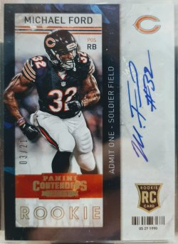 2013 Panini Contenters Michael Ford rookie ticket auto cracked ice