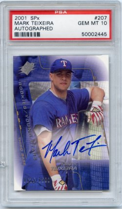 2001 Upper Deck SPx Mark Teixeira Autograph