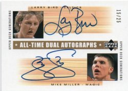 2002-03 Upper Deck Generations  Larry Bird / Mike Miller - All-Time Dual Autographs