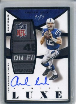 2015  Panini LUXE Andrew Luck 1/1 TAG Patch Auto