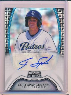 Cory Spangenberg 2011 Bowman Sterling Prospect Autographs Black Refractor /25