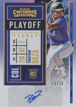 Yonathan Daza 2020 Panini Contenders RC Playoff Ticket