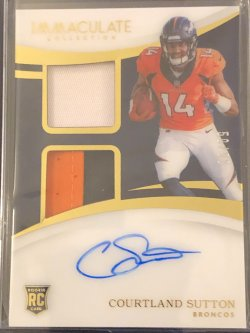 2018 Panini Immaculate Collection Rookie Signature Patches #13 Courtland Sutton/99