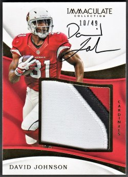 2017   David Johnson Immaculate Gold Parallel 3-CLR Patch Auto /49