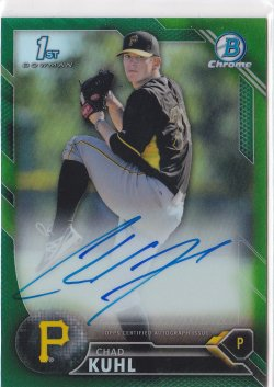 2016 Chad Kuhl Bowman Chrome Green Refractor On-Card Auto RC /99  Pirates A8670