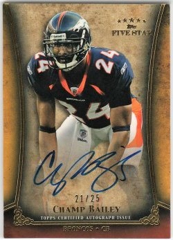 2011   Champ Bailey Topps Five Star Gold Parallel Auto /25