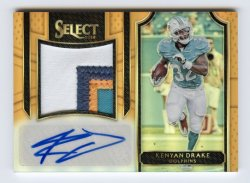 2016 Select Jumbo Rookie Signature Swatches Prizm Orange #JSKD Kenyan Drake/49