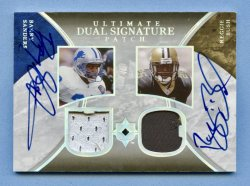 2006 Ultimate Collection Game Jersey Autographs Dual Patch #SB Barry Sanders/Reggie Bush/5