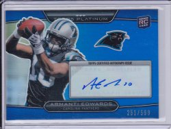Armanti Edwards 2010 Topps Platinum Rookie Autographs Blue Refractor /599
