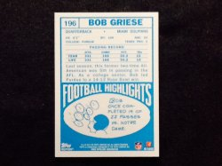 2012 Topps Quarterback Rookie Reprint Bob Griese #196 Back