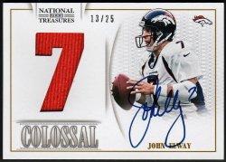 2013   John Elway National Treasures Colossal Jumbo Jersey Auto /25