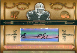 2006 Playoff National Treasures Gold Braylon Edwards Auto