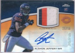 2012 Topps Chrome Rookie Autographs Patches #RAPAJ Alshon Jeffery